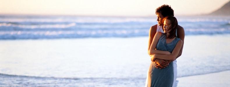 romantic couple at the sea